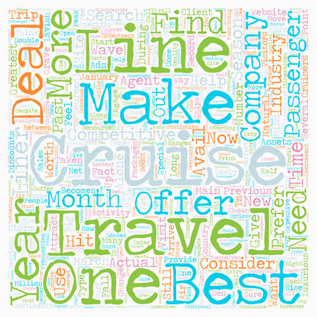deals: cruise deals text background wordcloud concept Illustration