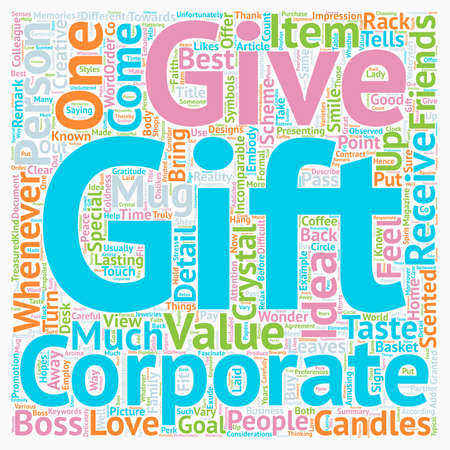 incomparable: Corporate Gift Ideas text background wordcloud concept Illustration