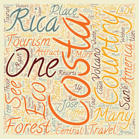 eco tourism: Costa Rica a Paradise for Eco Tourism text background wordcloud concept