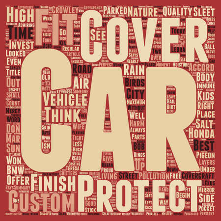 custom car: Custom Car Covers For That Perfect Fit text background wordcloud concept