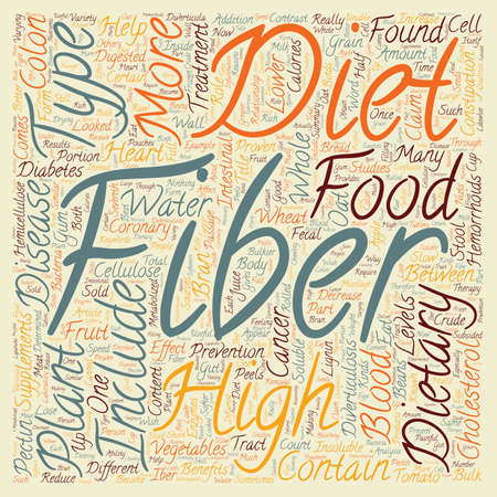 dietary fiber: Dietary Therapy High Fiber Diets text background wordcloud concept