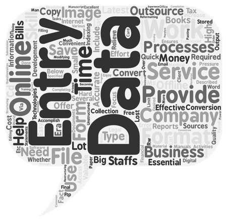 data entry services text background wordcloud concept Illustration