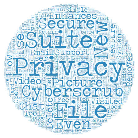 realize: CyberScrub Privacy Suite Review text background wordcloud concept Illustration