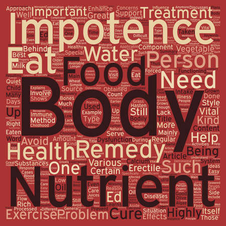 impotence: Cure ED Eat Healthy text background wordcloud concept Illustration