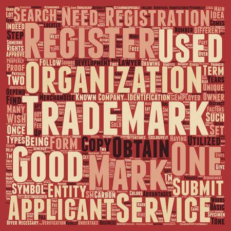 trademark: development search trademark text background wordcloud concept Illustration
