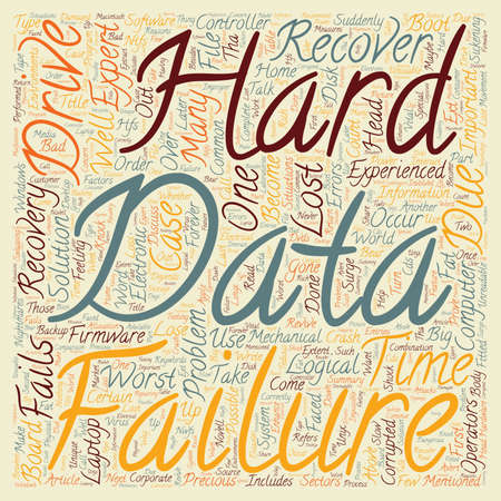 Data Recovery What To Do When Your Hard Drive Fails text background wordcloud concept