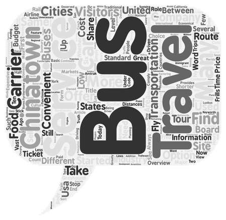 visitors: Bus Travel in the US an Overview for Visitors text background wordcloud concept