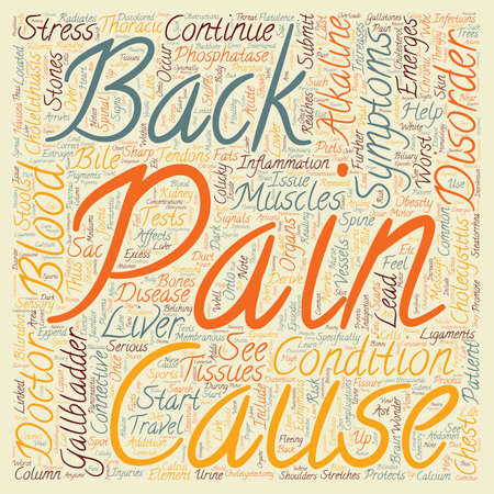 gallstones: Cholecystitis and Back Pain text background wordcloud concept