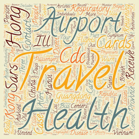 CDC Issues Health Alert Notice for Travelers to USA from Hon text background wordcloud concept