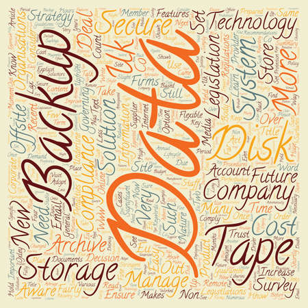 governing: Companies must be prepared for data storage and backup compliance text background wordcloud concept