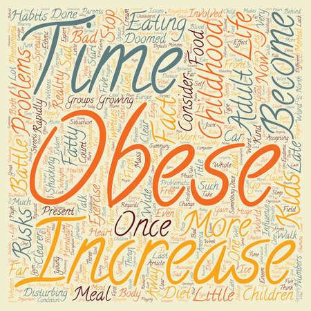 obesidad infantil: La obesidad infantil wordcloud concepto de fondo de texto