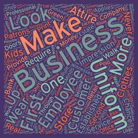 Business Uniforms Success Is In The Look text background wordcloud concept Ilustração