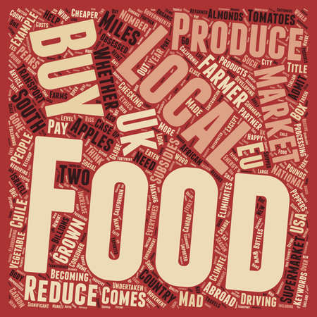 Buy Local Food To Reduce Food Miles text background wordcloud concept Illustration