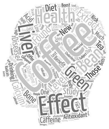 yielded: Coffee Health New Antioxidant On The Block text background wordcloud concept Illustration