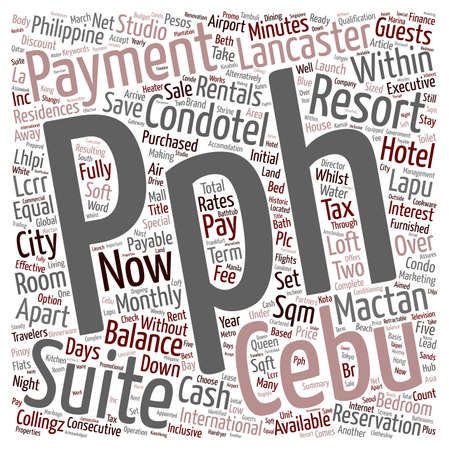 rentals: Condotel and Apartment Rentals in Cebu Philippines text background wordcloud concept Illustration