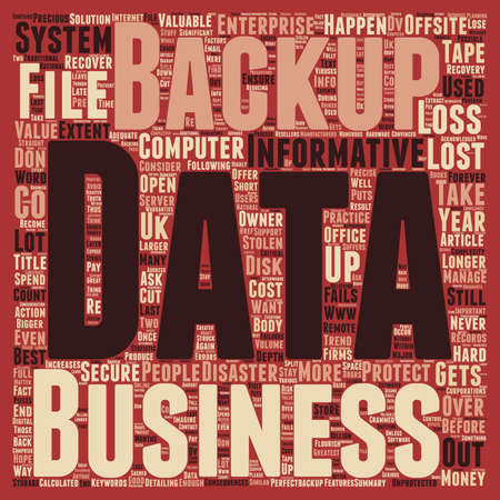 data loss: Consequences of data loss and Why should Offsite Backup be used text background wordcloud concept Illustration