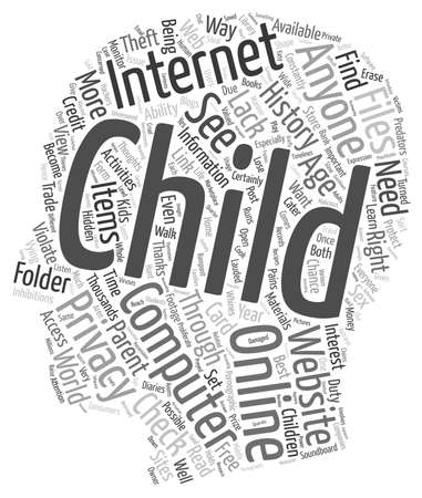 violate: BWI should you violate your childs privacy text background wordcloud concept Illustration