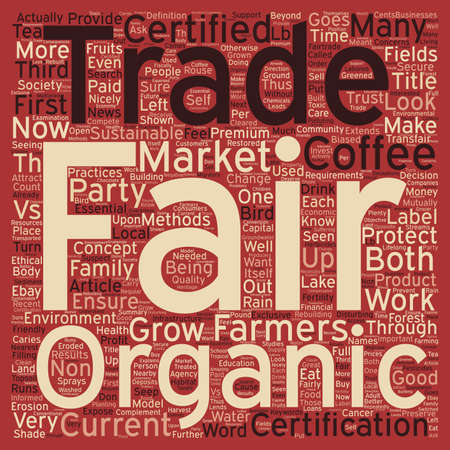 vs: Certified Organic vs Fair Trade Certified text background wordcloud concept Illustration