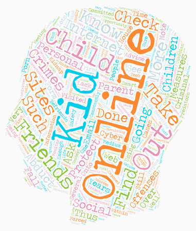 BWI know who your kids are online with text background wordcloud concept Illustration