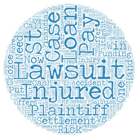 lawsuit: Comercial Plaintiff Wins Now With No Win No Pay No Risk Lawsuit Loan text background wordcloud concept