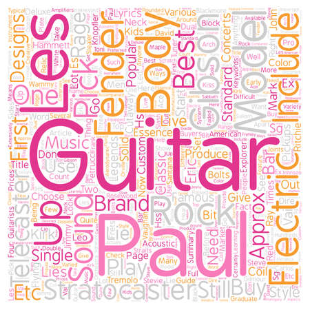 70 s: Buyers Guide To Electric Guitars text background wordcloud concept Illustration