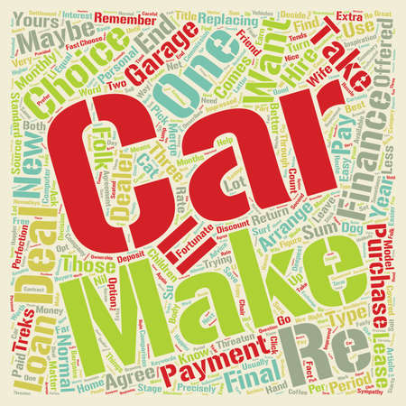 replacing: Car Loans Take Your Pick text background wordcloud concept Illustration