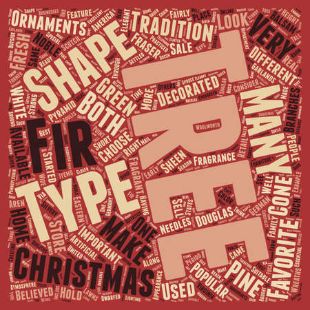 settled: Christmas Tree Types text background wordcloud concept