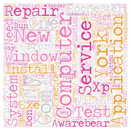 computer repair: Computer Repair and Services Rochester NY text background wordcloud concept Illustration
