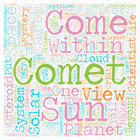 visitors: Comets Visitors From Beyond text background wordcloud concept