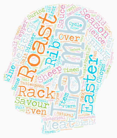 Celebrate Easter In Style With Roasted Lamb text background wordcloud concept Illustration