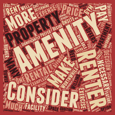 amenities: Consider The Amenities 1 text background wordcloud concept Illustration