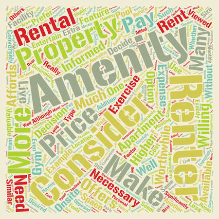 amenities: Consider The Amenities text background wordcloud concept Illustration