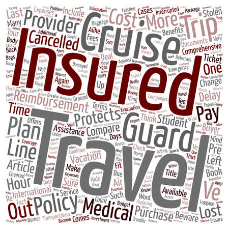 Compare Cruise Insurance You often get what you pay for text background wordcloud concept Illusztráció