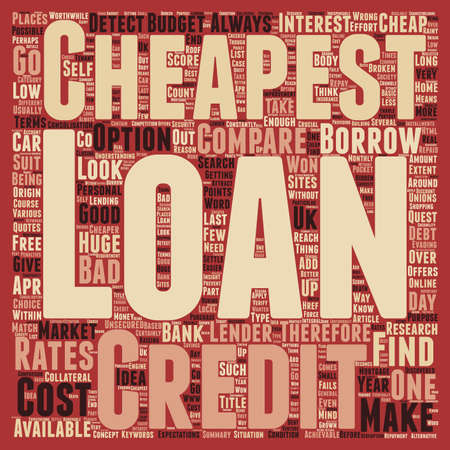 cheapest: Cheapest loans when cheap loans are not good enough text background wordcloud concept