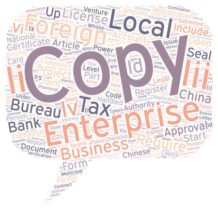 continuation: China Company Start up Checklist Part text background wordcloud concept