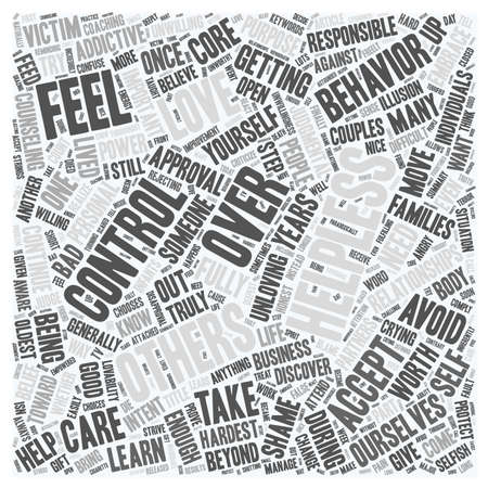 discovered: Control Helplessness and Love text background wordcloud concept Illustration