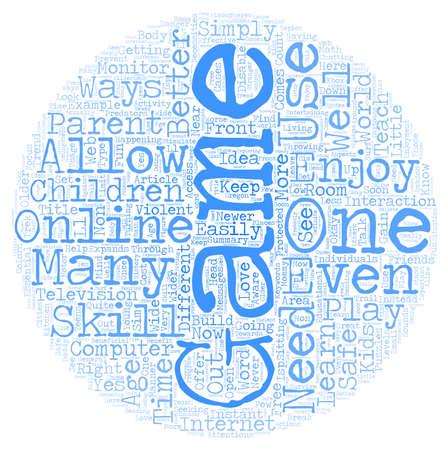 the children s: Children s Online Games text background wordcloud concept Illustration