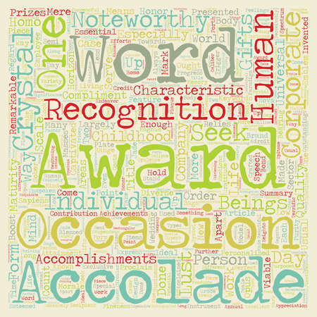 noteworthy: Corporate awards 101 text background wordcloud concept