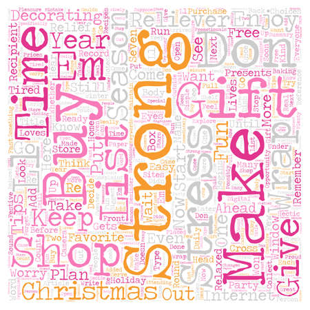 stress relief: Christmas Stress Relief Simple Tips text background wordcloud concept