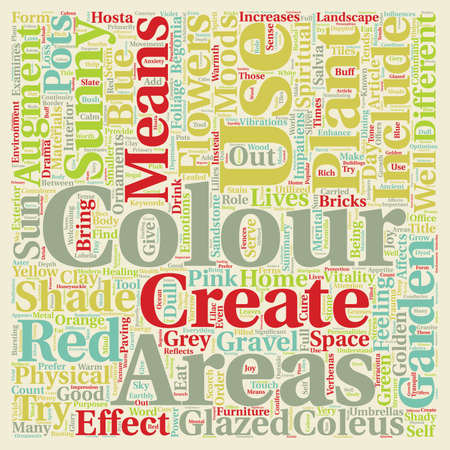 Colour in the Garden text background wordcloud concept