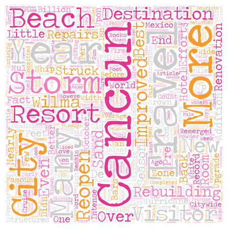 cancun: Cancun Is Back And Better Than Ever text background wordcloud concept Illustration