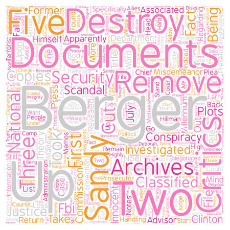 Conspiracy Theory On Sandy Berger Scandal text background wordcloud concept