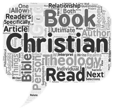 text books: Christian Books Our Ways To God text background wordcloud concept Illustration
