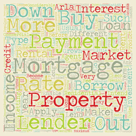 long term: Buy to let mortgages long term investment on the concrete structure text background wordcloud concept Illustration