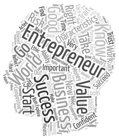 characteristics: characteristics of entrepreneur 1 text background wordcloud concept Illustration