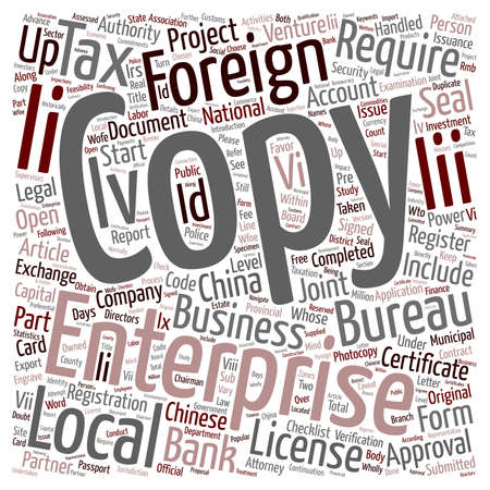 continuation: China Company Start up Checklist Part 2 text background wordcloud concept