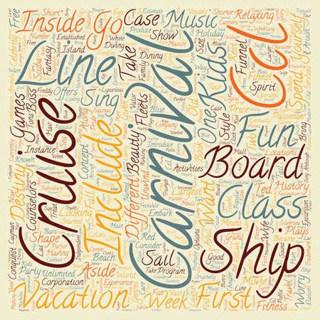 unwind: carnival cruise line text background wordcloud concept Illustration