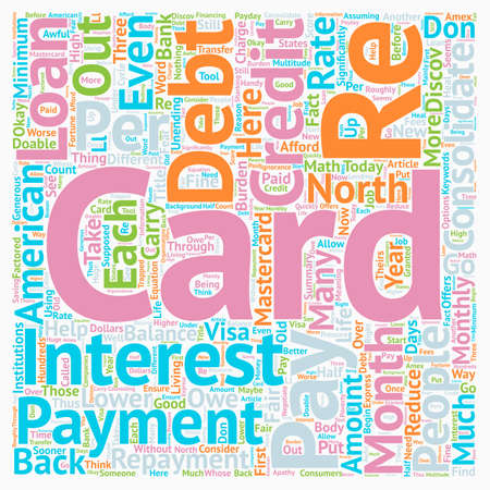 Consolidate Your Credit Cards Lower Your Monthly Payments text background wordcloud concept
