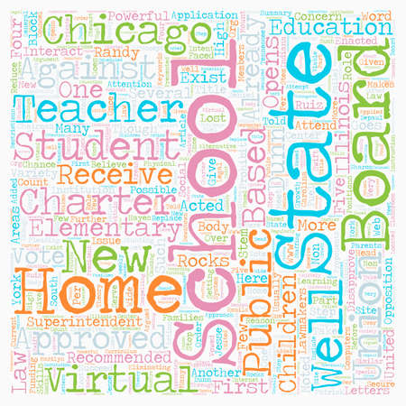 opens: Chicago Schools Opens Its First Virtual Elementary School text background wordcloud concept