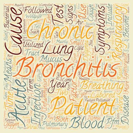 bronchitis: chronic bronchitis symptom text background wordcloud concept Illustration